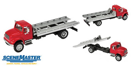 Walthers 11591  International 4900 Roll-On/Roll-Off Flatbed Truck  H0 ― Zugmodell -- Модели железных дорог ведущих фирм: Piko, Roco, Noch, Vollmer, Faller, Auhagen, Trix, Tillig, Busch